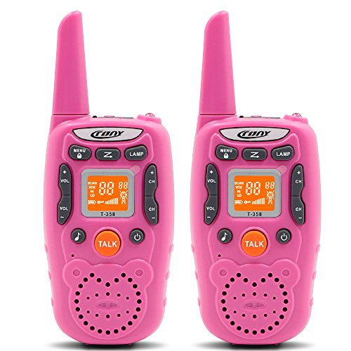 ENGPOW Walkie Talkies for Kids 22 Channels Two Way Radio 2 Mile Range Mini Walkie Talkies with Flashlight and LCD Screen Gifts for Kids (Pink, 2PCS) -