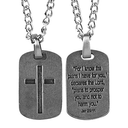 (Textured Dog Tag With Cutout Cross Brushed Pewter 24-Inch Pendant Necklace)