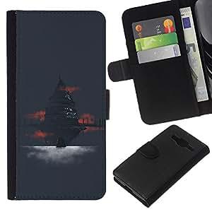YiPhone /// Tirón de la caja Cartera de cuero con ranuras para tarjetas - Templo antiguo - Samsung Galaxy Core Prime