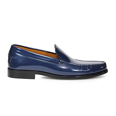 Men's 40402 Blue Leather Loafers
