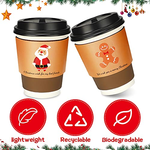 40 Pieces Christmas Coffee Cup Tea Cup Sleeves Christmas Kraft Disposable Cup Sleeves 5 Designs for Corrugated Cup Paper Jacket for Hot Chocolate Cocoa Cold Beverage