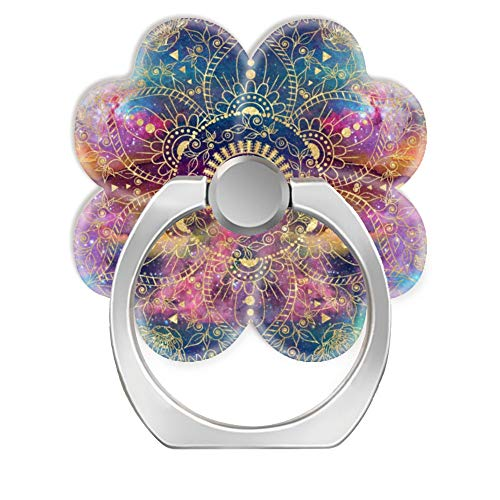 360 Degree Finger Stand Cell Phone Ring Holder Car Mount with Hook for Smartphone-Gold Watercolor and Nebula Mandala