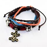 KPOP EXO Hand-Made Bracelet EXO K M Leather Strap/rope Wristband (LUHAN)