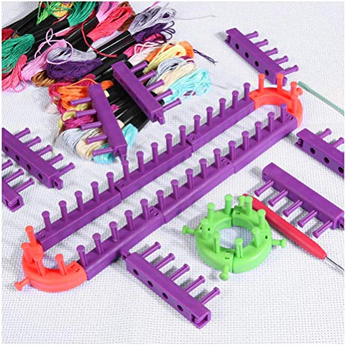 Photo Guide Ring Set - LQT Ltd Knitting Loom DIY Spliced Loom Braided Frame Child Educational Long Ring Set with Hook Needles Knitting Woven Scarves Hats Socks