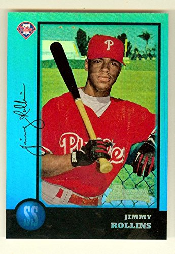 Jimmy Rollins baseball card (Philadelphia Phillies World Series SS) 2013 Topps Bowman Rookie Reprint Refractor #181