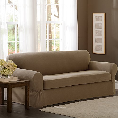 Sand Loveseat (Maytex Pixel Stretch 2-Piece Slipcover Loveseat,)