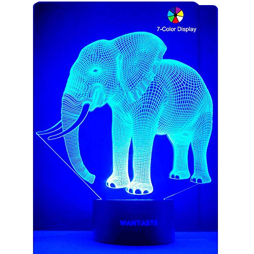 WANTASTE 3D Elephant Lamp, Optical Illusion Night Light for Room Decor & Nursery, Cool Birthday Gifts & 7 Color Changing Toys for Girls & Boys
