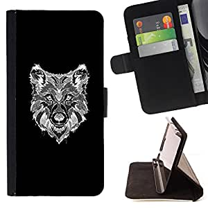 - Queen Pattern FOR LG OPTIMUS L90 /La identificaci????n del cr????dito ranuras para tarjetas tir????n de la caja Cartera de cuero cubie - wolf black white canine dog drawing -