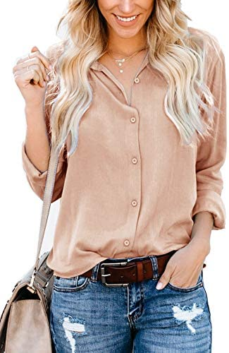 ZC&GF Women's Long Sleeve V-Neck Stripes Casual Blouses Pocket Button Down Shirt Tops