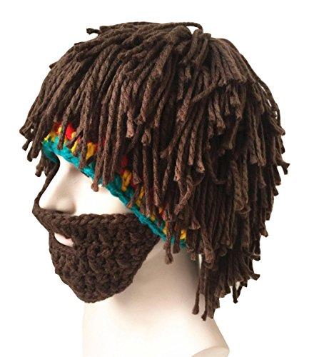Misula Handmade Knit Beard Wig Hats Hobo Mad Scientist Rasta Caveman Warm Winter Caps Men Women Funny Party Mask Beanies