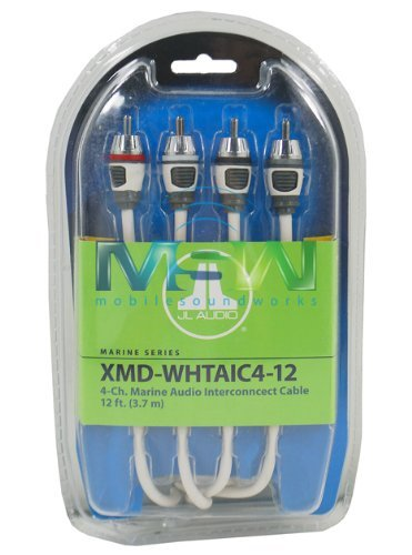 Audio Cable Interconnect Rca Pair (JL Audio XMD-WHTAIC4-12 12 ft (3.66 m) 4-Channel Marine RCA Audio Interconnect Cable)
