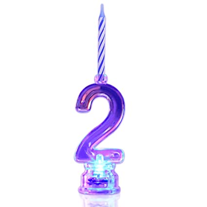 Multicolor Flashing Number Candle Set, Novelty Place Color Changing LED Birthday Cake Topper with 4 Wax Candles (Number 2)