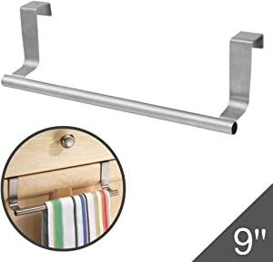 """Over The Door 9"""" Dish Towel Bar Rack Hanger Holder Stainless Steel with 22 Lbs Maximum Load - Effortless Installation on Any Bathroom and Kitchen"""