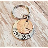 Lucky 2002 Penny Happy 16th Birthday Gift with a Copper Coin Key Chain