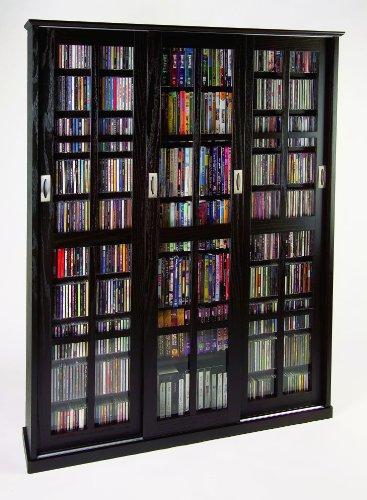 Leslie Dame Enterprises Huge DVD/CD Black Finish Sliding Glass Door Cabinet MS-1050 Espresso