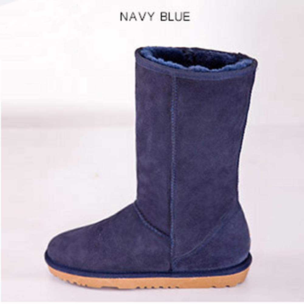Navy bluee INOE CREATE GLAMOUR Women Snow Boots Classic Sheepskin Suede Real Sheep Fur Lined Winter Snow Boots for Women