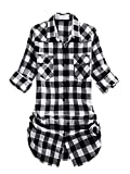Womens Long Sleeve Collared Button Down Plaid Flannel Shirt Black White Tag US XXL