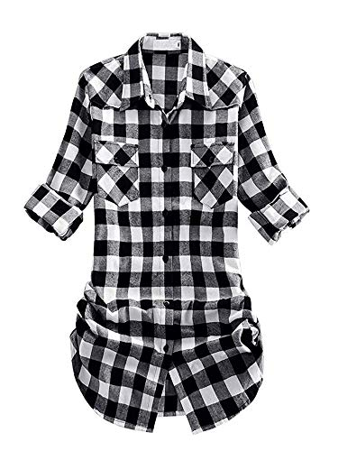 Women's Mid-Long Roll Up Sleeve Plaid Flannel Shirt G055 Black White Size M -