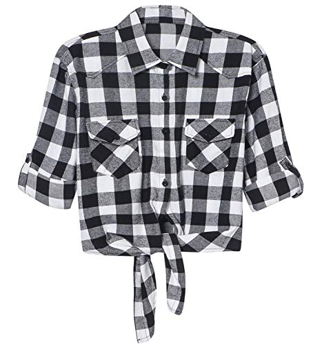 LATUD Women's Quarter 3/4 Sleeves Tie Knot Front Flannel Plaid Button Down Crop Shirt Tops, White Black, Small ()