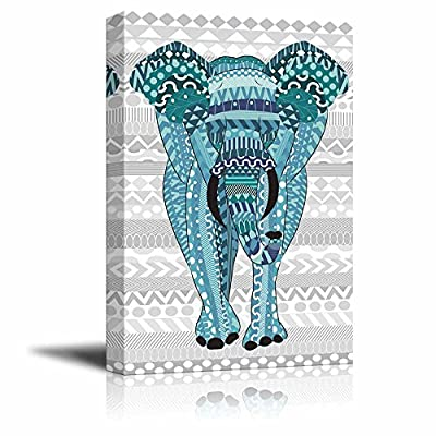 Premium Creation, Elegant Composition, Blue Hand Drawn Zentangle Elephant on a Silver Colored Zentangle Background