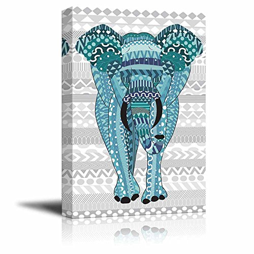Blue hand drawn zentangle elephant on a silver colored zentangle background