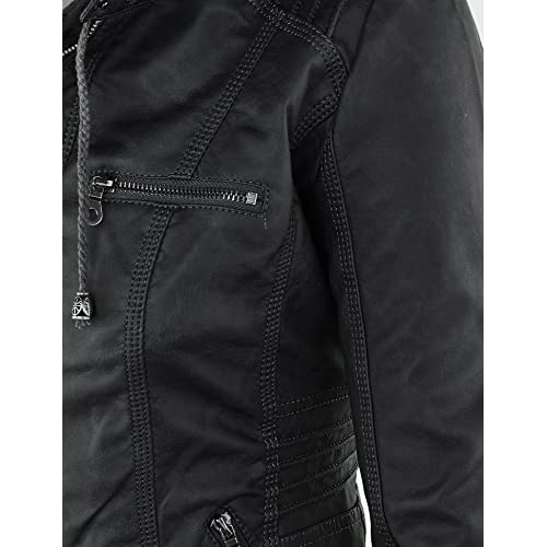 d77e8540b lovely MBJ Womens Faux Leather Motorcycle Jacket with Hoodie - www ...