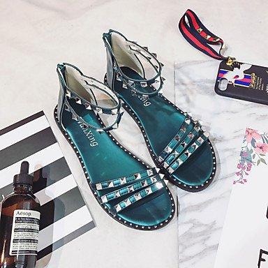LvYuan Tacón Plano-Confort-Sandalias-Informal-PU-Negro Blanco Azul Real Black