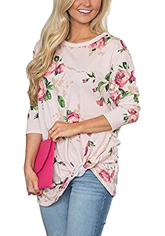 FELACIA Womens Casual 3 4 Sleeve Shirts Floral Print Knot Blouses Tops - Pink Floral Shirt