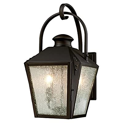 Westinghouse 6321500 Valley Forge Two-Light Outdoor Wall Lantern with Clear Seeded Glass, Oil Rubbed Bronze