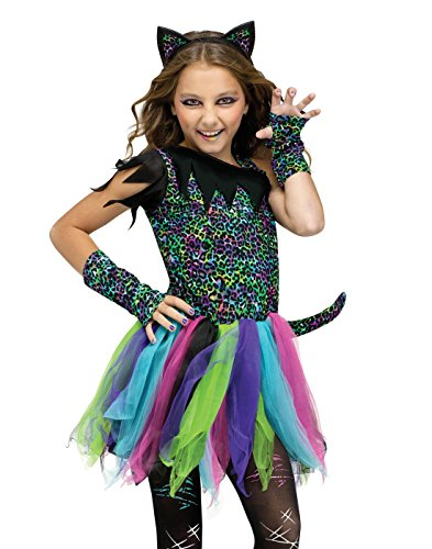 Cat Costumes For Girls (Fun World Wild Rainbow Cat Costume, Medium 8 - 10,)