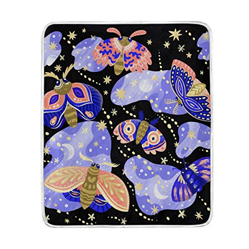 (Beautiful Purple Butterfly Stars Soft Warm Throw Blankets Lightweight Velvet Short Plush Microfiber Blanket for Bed Couch Chair Sofa Travelling Camping 50'' x 60'')