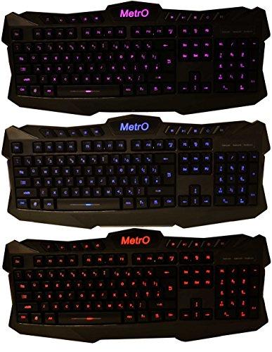 Metro Aura Wired Illuminated Backlit LED Keyboard USB UK Layout Quiet Operation 3 Colours