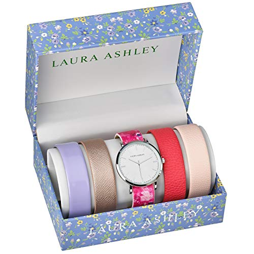 Laura Ashley Womens LASS1101SS Silver Case Floral Strap Heirloom Watch Set Interchangeable Straps