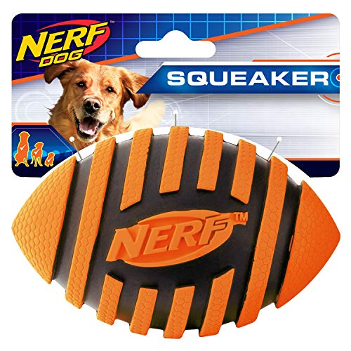 - Nerf Dog Spiral Squeak Rubber Football Dog Toy, Medium/Large, Orange