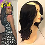 RJ Hair U Part Wigs Human Hair Glueless Body Wave U Part Wigs Virgin Malaysian Hair (14inch, 1#)