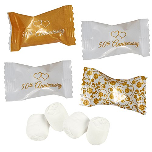 Gift Boutique 50th Anniversary Wedding Buttermints Candies Bags 100 Count Mint Candy 14 Ounce (396g) Bag Goodie Treat Sweets Buttercream Two Hearts Themed Party Favor Supplies Decorations For ()