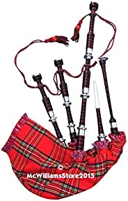 McWilliams PROFESSIONAL SCOTTISH HIGHLAND BAGPIPE NATURAL FNS MOUNTS RS TARTAN AND BAG