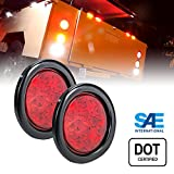 """2pc OLS 4"""" Round LED Trailer Tail Lights - RED Turn Stop Brake Trailer Lights for RV Jeep Trucks (DOT Certified, Grommet & Plug Included)"""