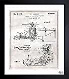vintage airplane blueprint - 'Helicopter 1943' Vintage Framed Wall Art Print for Home decor & Office. The Airplanes Wall Decor Blueprint Collection by The Oliver Gal Artist Co. Hand Framed and Ready to Hang. 15x18 inch