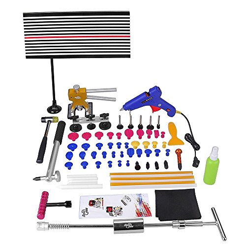 Super PDR DIY 68pcs LED Line Board Car Body Paintless Dent Removal Repair Tool Kits Slide Hammer Dent Kits PDR Tools T Bar Rubber Hammer Glue Puller Gun Sticks Tabs Tap Down Head (Dentless Repair Kit compare prices)