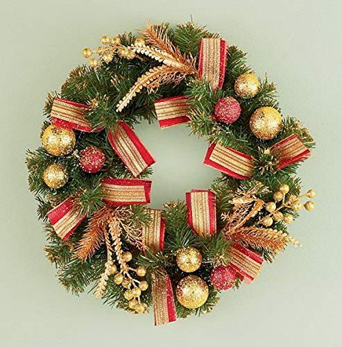 - Mikash Christmas Festive Red Gold Accented Holiday Wreath w/Hook 17Dia | Model WRTH - 623