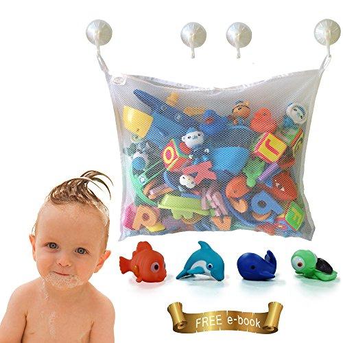 Rangement de jouets de bain pour bébé – Grand rangement de jouets pour garçons et filles et panier de douche