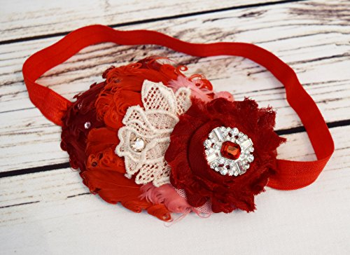 Handcrafted Red Ombre Vintage Style Feather Headband - Burgundy Peach Red Pink - Fancy Headband - Red Valentines Headband - Christmas Bows