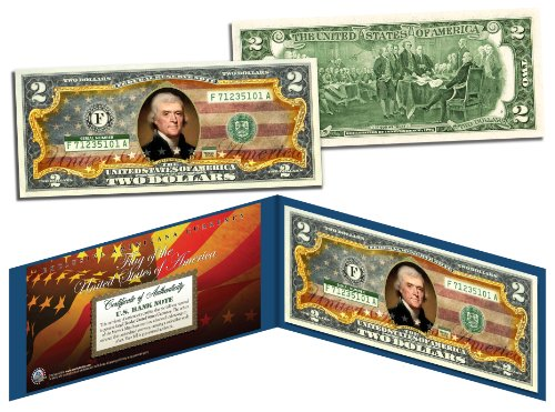 """United States of America Flag""""Old Design"""" Legal Tender $2 Bill FULLY COLORIZED"""