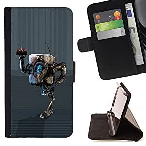BETTY - FOR Sony Xperia m55w Z3 Compact Mini - cool funny birthday cake robot cute - Style PU Leather Case Wallet Flip Stand Flap Closure Cover