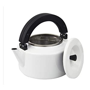 Enamel Imported Solid Color Kettle Gas Gas Boiled Kettle Teapot With Filter 2.3L (color : White)