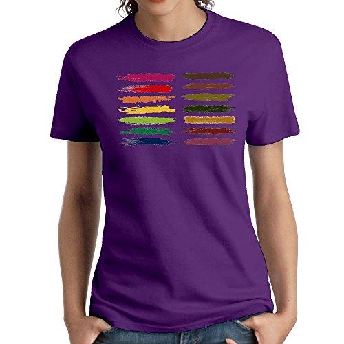 (Women's Cotton Short-Sleeved T-Shirt Design Painted Logo Purple XXL)