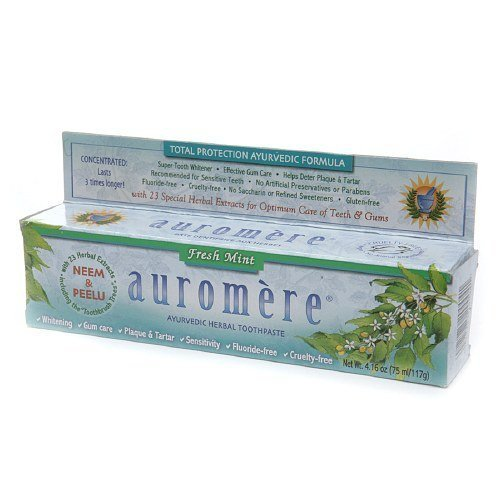 Auromere Ayurvedic Herbal Toothpaste, Fresh Mint 4.16oz (Pack of 2)