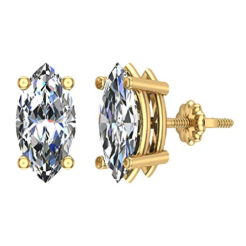 - 4.00 ct tw G SI Diamond Stud Earrings Marquise Cut Earth-mined 14K Yellow Gold Screw Back