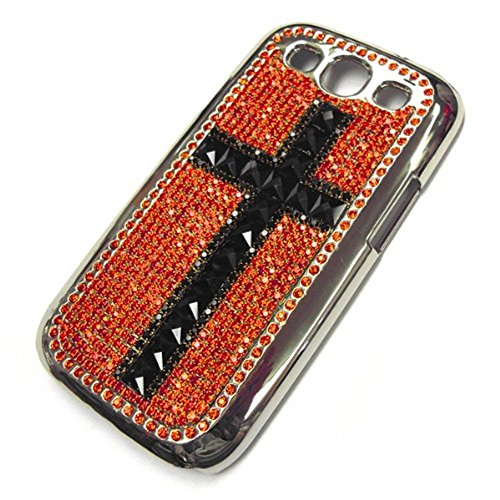 Swarovski Diamond Black Cross on Red Design Case Cover for Samsung Galaxy S3S